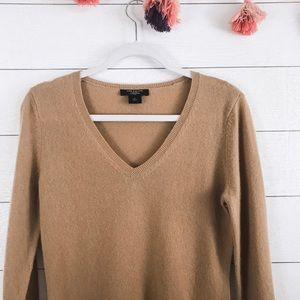 Ann Taylor • Camel Brown Cashmere V-Neck Sweater